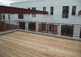 Some units have decks overlooking the condo courtyard.
