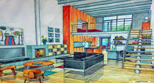 Rendition of ataptive reuse and sustainable architecture in evanston loft condos.